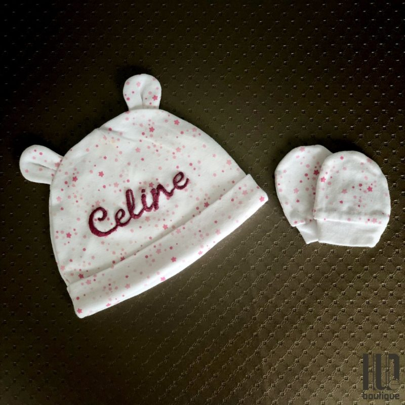 Personalized Embroidered Baby Hat & Scratch Mittens-2178