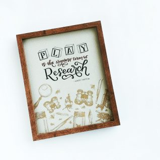 'Play is the highest form of Research' Typography Frame-0