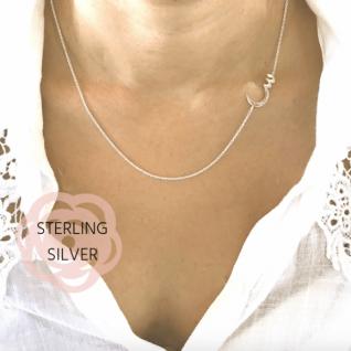 Arabic Initial Sideways Necklace in Sterling Silver-0