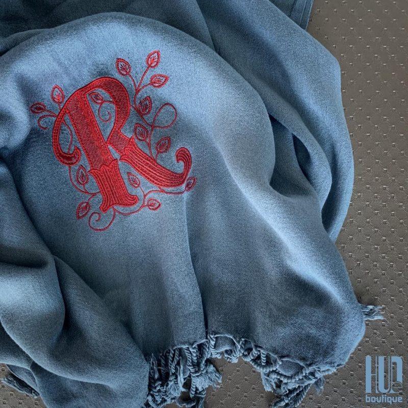 Custom Embroidered Initial Scarf/Shawl-1775