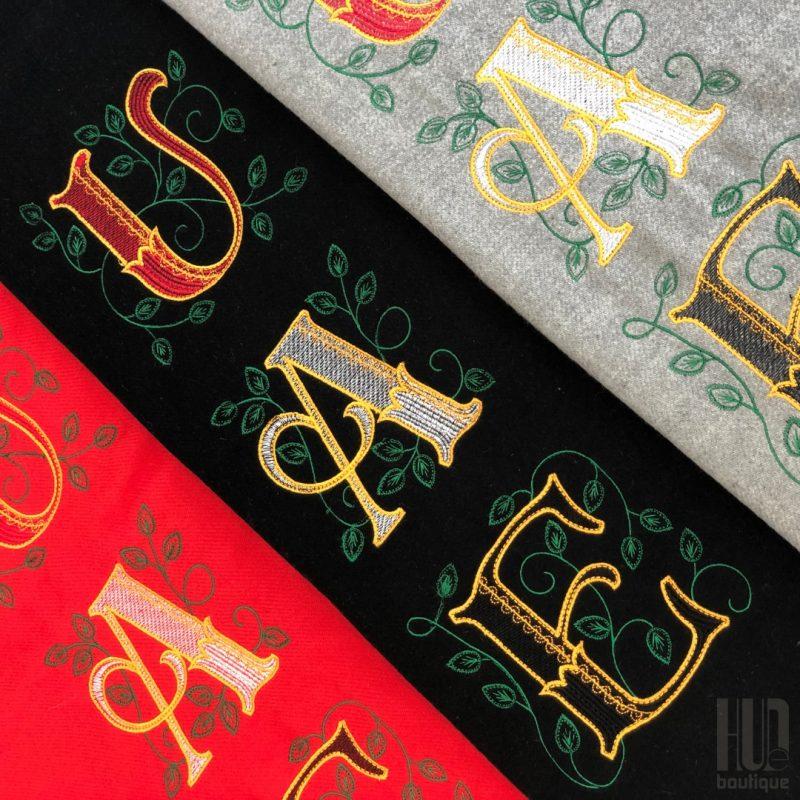 Custom Embroidered UAE Shawl with Leaves-1999