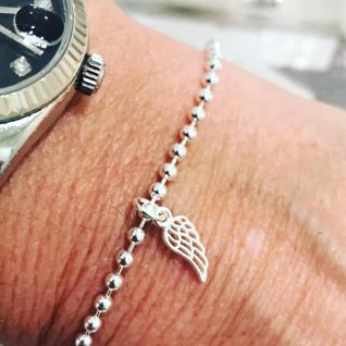 Sterling silver angel wing bracelet-0