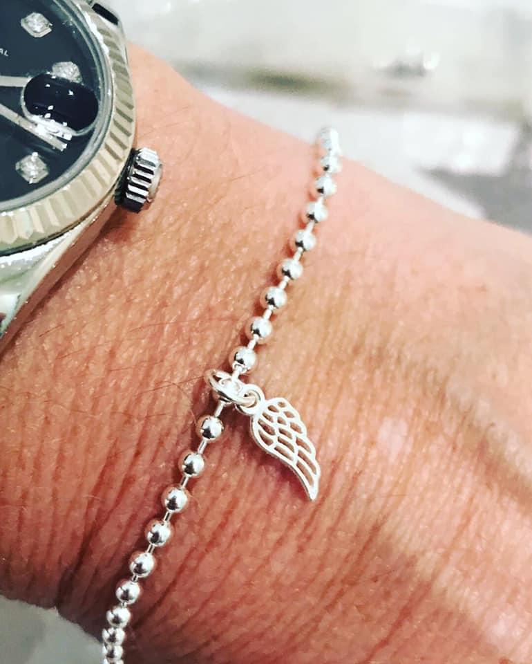 Sterling silver angel wing bracelet-0