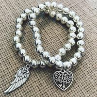 Chunky silver bracelet with charms-0