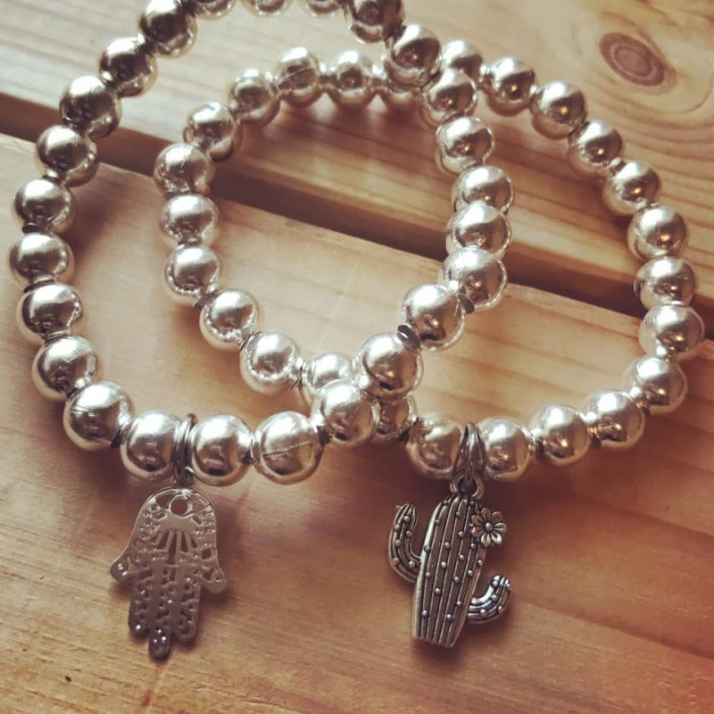 Chunky silver bracelet with charms-2562