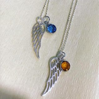 Sterling silver angel wing necklace-0