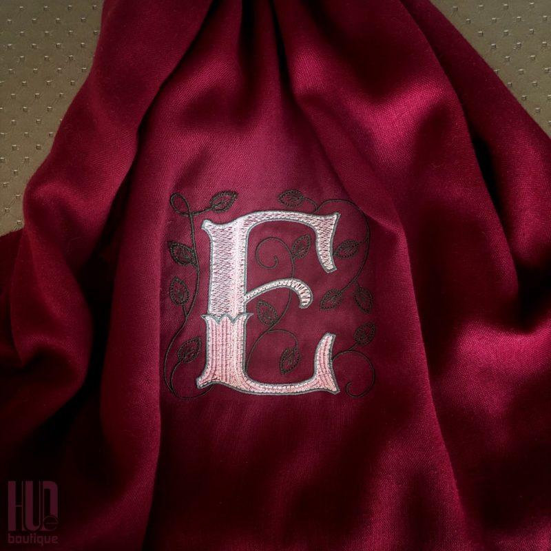 Custom Embroidered Initial Scarf/Shawl-1776
