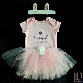 1st Birthday 3 Piece Bunny Tutu Set – Embroidered Onsie (6 months – 3 years old)-0