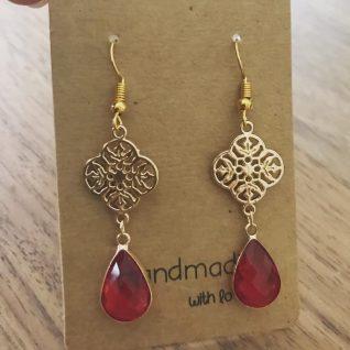 Ruby Red Chandelier Earrings-0