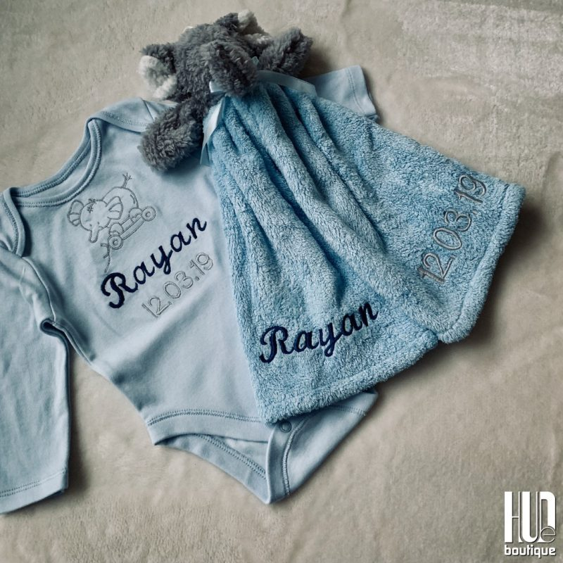 Personalized Baby Gift Set - Set of 2 Custom Embroidered Elephant Baby Gift Set-0