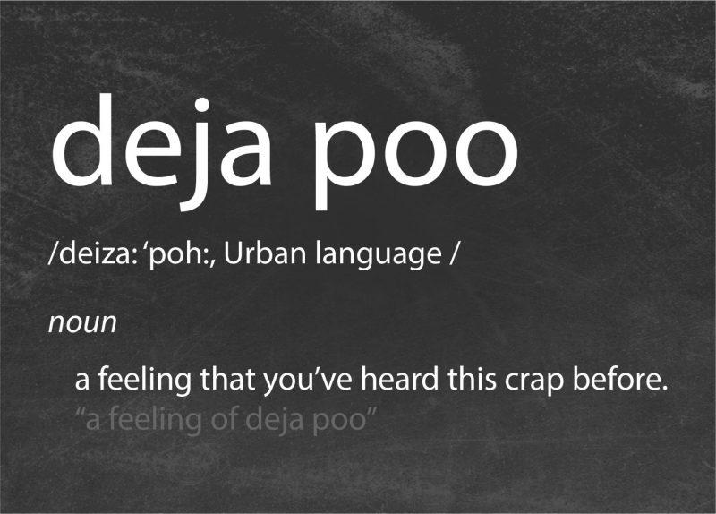 Typography - Deja Poo-Framed A4 print-Black-0