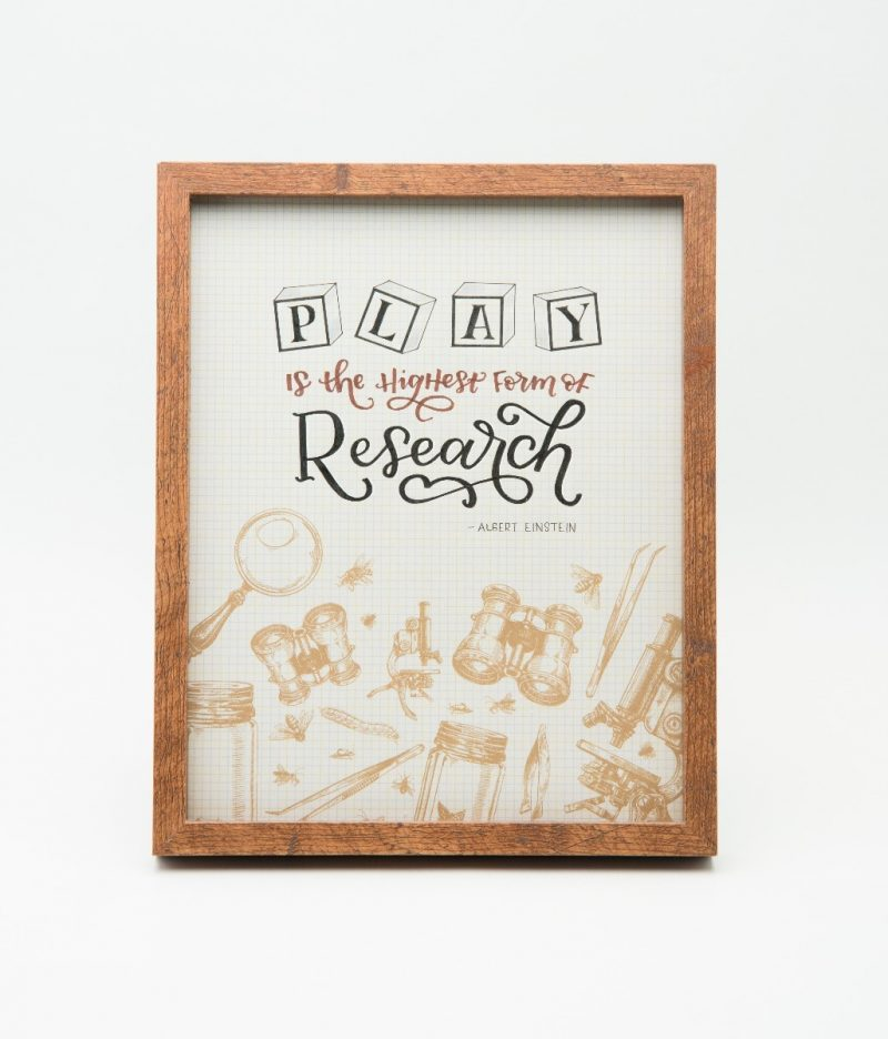 'Play is the highest form of Research' Typography Frame-2294