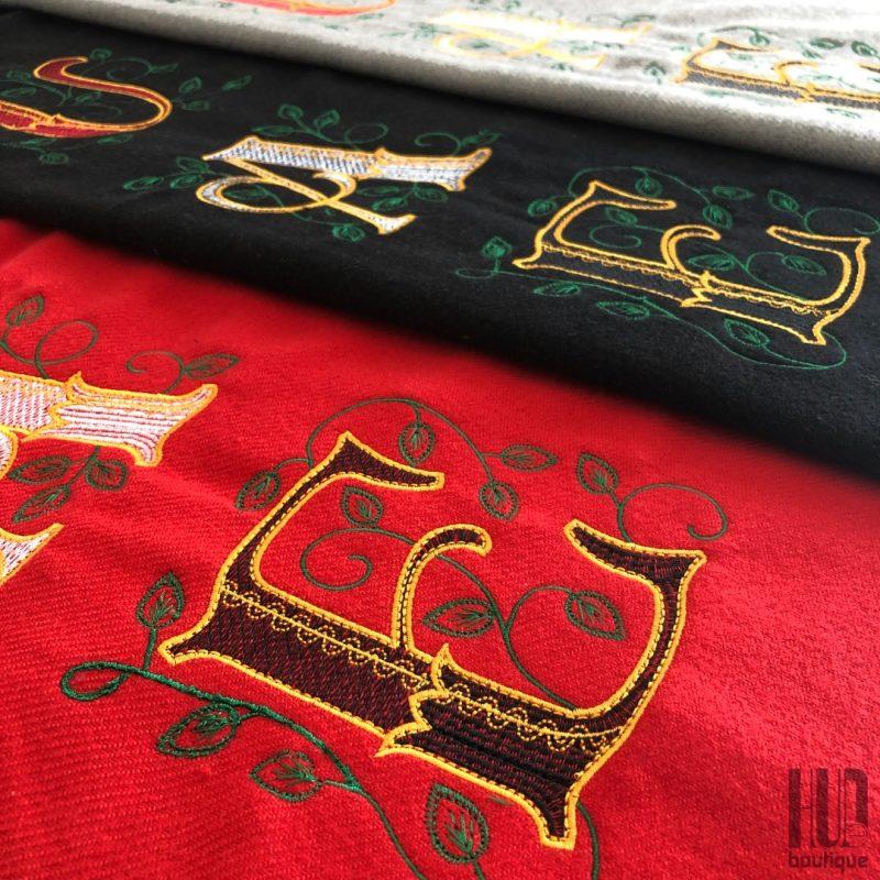 Custom Embroidered UAE Shawl with Leaves-2000