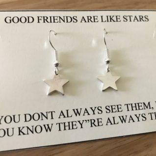 Sterling Silver Star Earrings-0