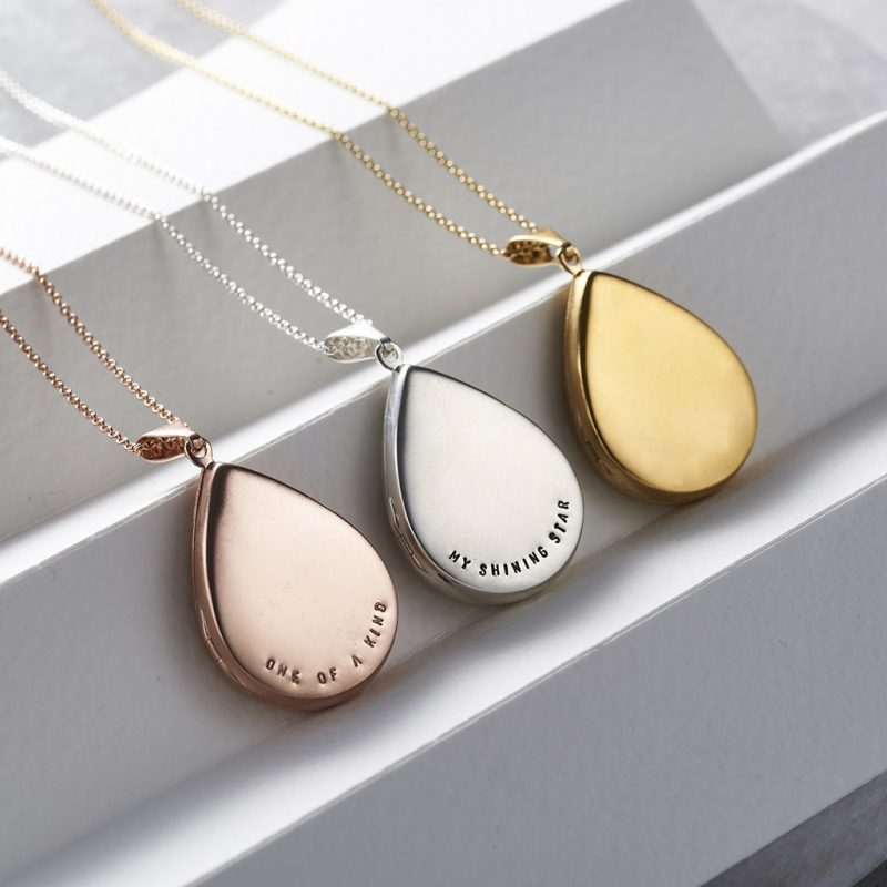 Personalised Large Droplet Locket Necklace-1427