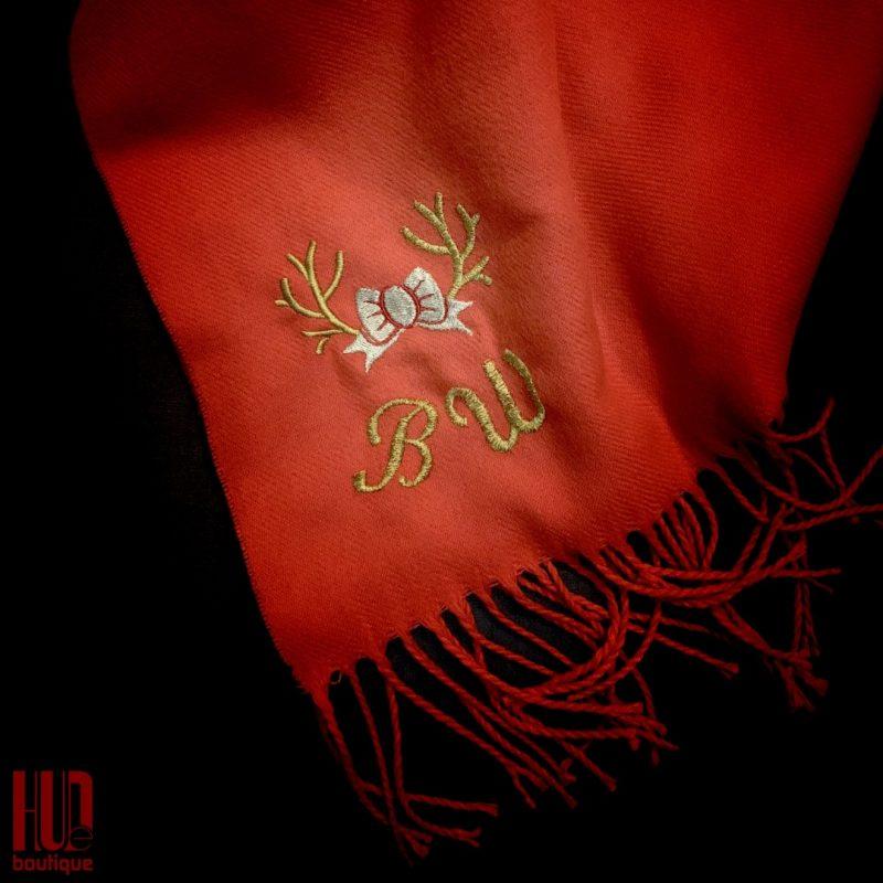 Custom Embroidered Monogram Neck Scarf for the festive season-2918