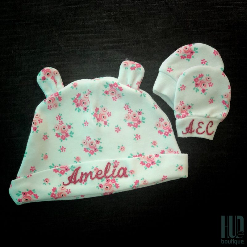 Personalized Embroidered Baby Hat & Scratch Mittens-0
