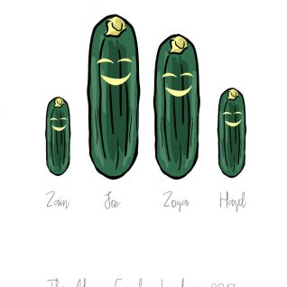 Family & Friends - Cucumber 1-Framed A4 print-Black-0