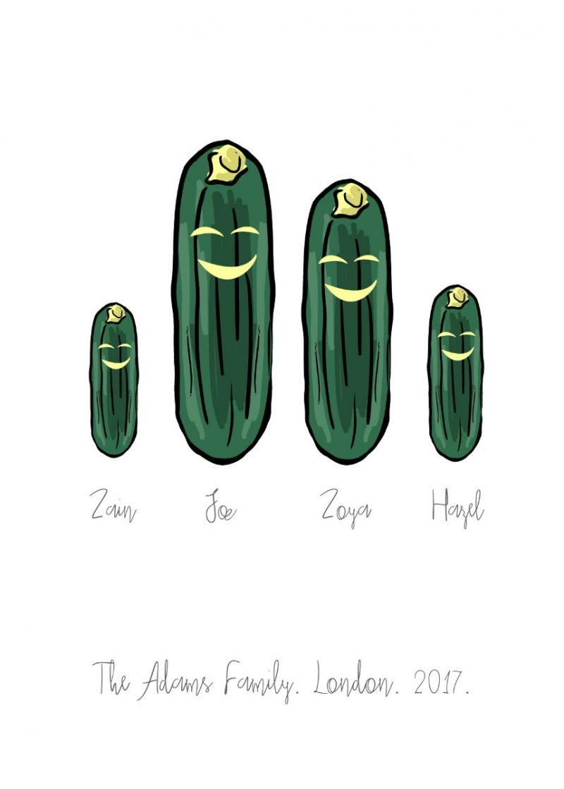 Family & Friends - Cucumber 1-Framed A4 print-Black-0