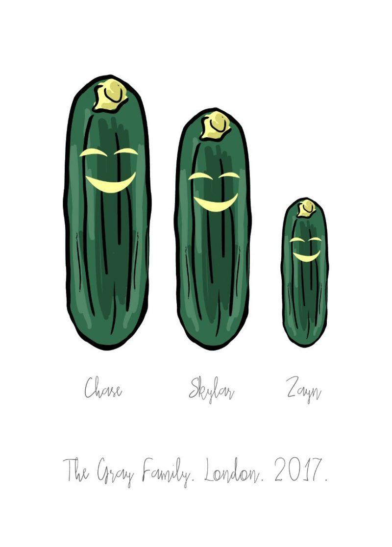 Family & Friends - Cucumber 1-Framed A4 print-Black-1528