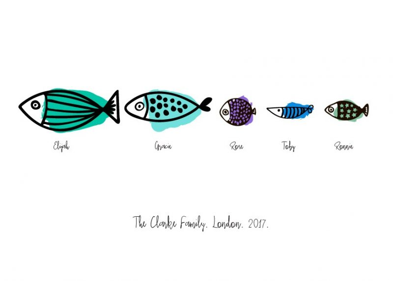 Family & Friends - Fishes 1-Black-Framed A4 print-1558