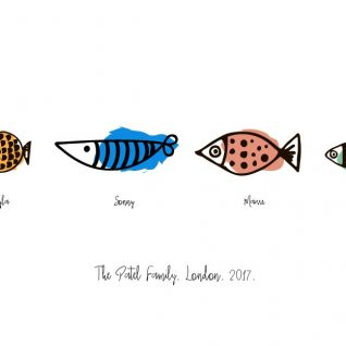 Family & Friends - Fishes 1-Black-Framed A4 print-0