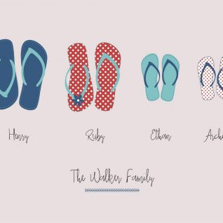 Family & Friends - Flip Flops 1-Framed A4 print-Black-0