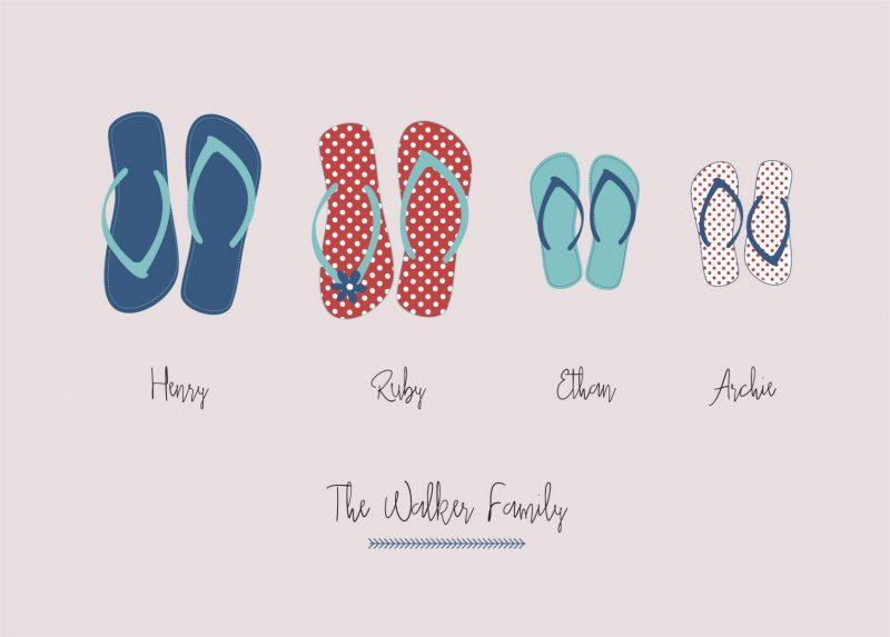 Family & Friends - Flip Flops 1-Framed A4 print-Black-0