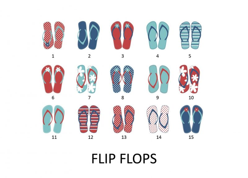 Family & Friends - Flip Flops 1-Framed A4 print-Black-1534