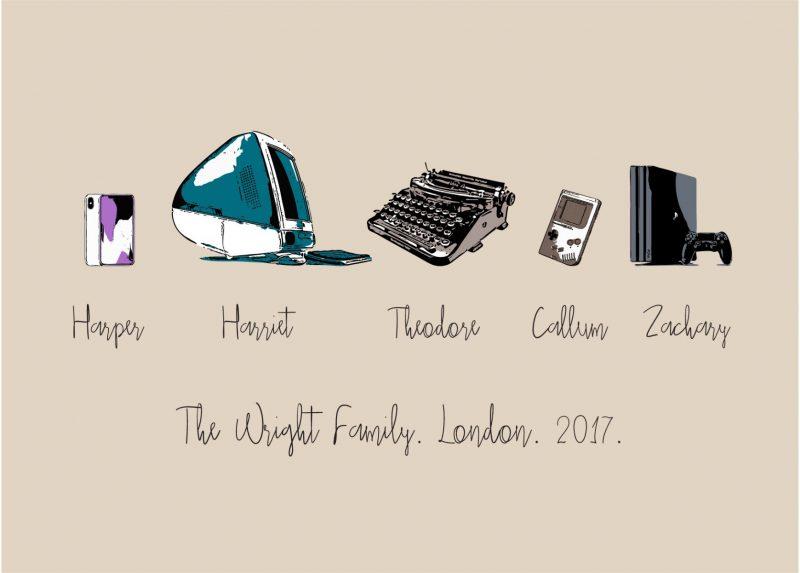 Family & Friends - Gadgets 1-Framed A4 print-Black-0