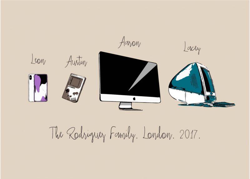 Family & Friends - Gadgets 1-Framed A4 print-Black-1536