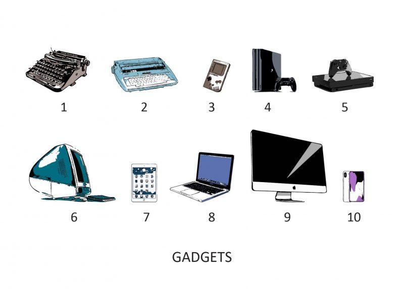 Family & Friends - Gadgets 1-Framed A4 print-Black-1537
