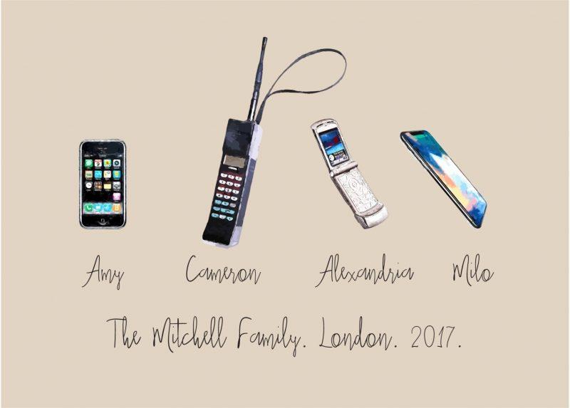 Family & Friends - Mobile Phones 1-Framed A4 print-White-0