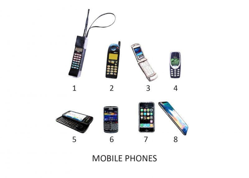Family & Friends - Mobile Phones 1-Framed A4 print-White-1610