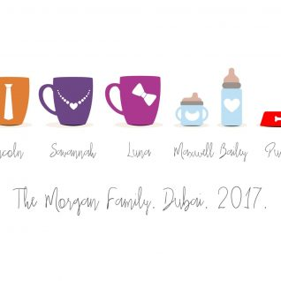 Family & Friends - Mugs and Sippy Cups 1-Framed A3 print -Black-0