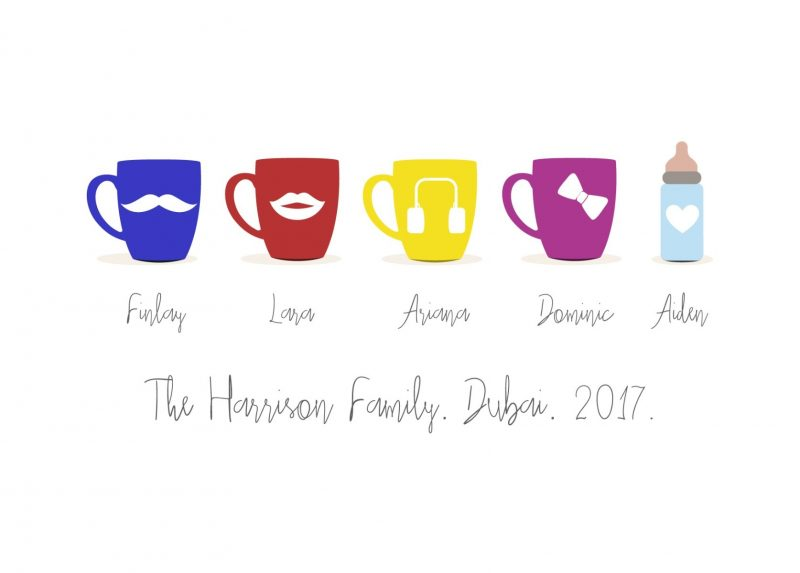 Family & Friends - Mugs and Sippy Cups 1-Framed A3 print -Black-1627