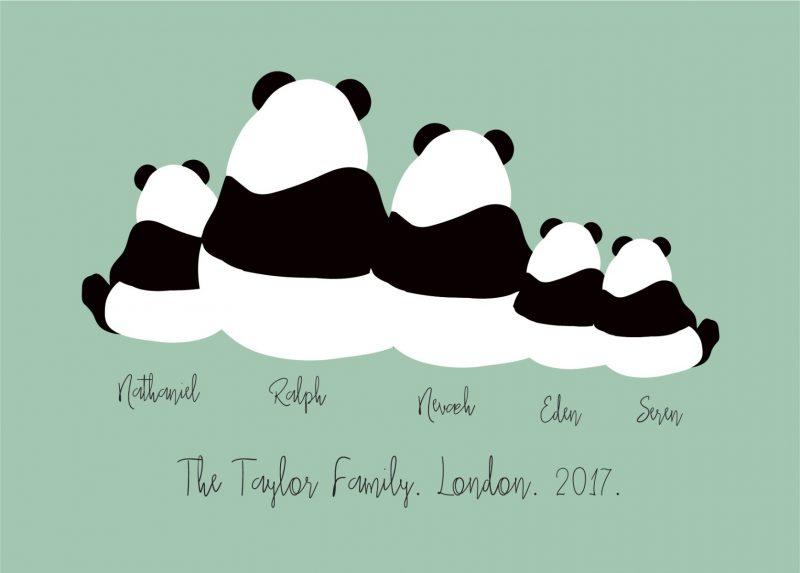 Family & Friends - Pandas 1-Framed A4 print-Black-0