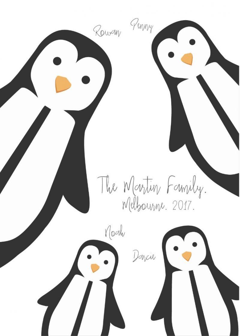 Peeping family of penguins-Black-Framed A4 print-1574