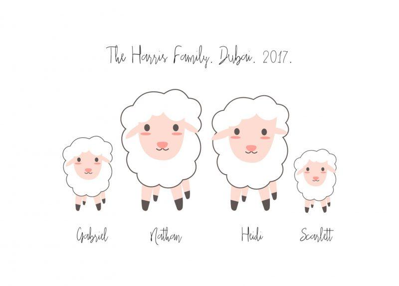 Adorable family of sheep artwork-Black-Framed A3 print-1581