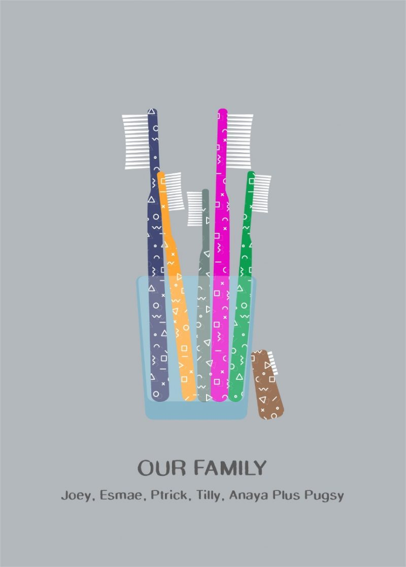 Family & Friends - Toothbrush 1-Framed A4 print-Black-1596