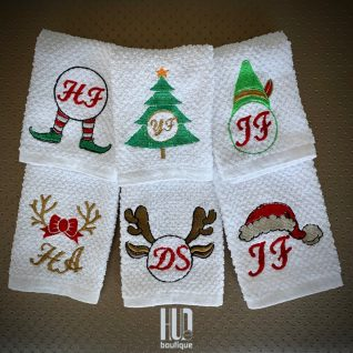 Personalized Embroidered Christmas Towels - set of 2-0