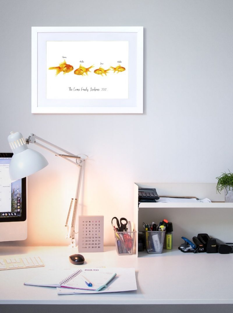 Family & Friends - Fishes 2-Black-Framed A4 print-1564