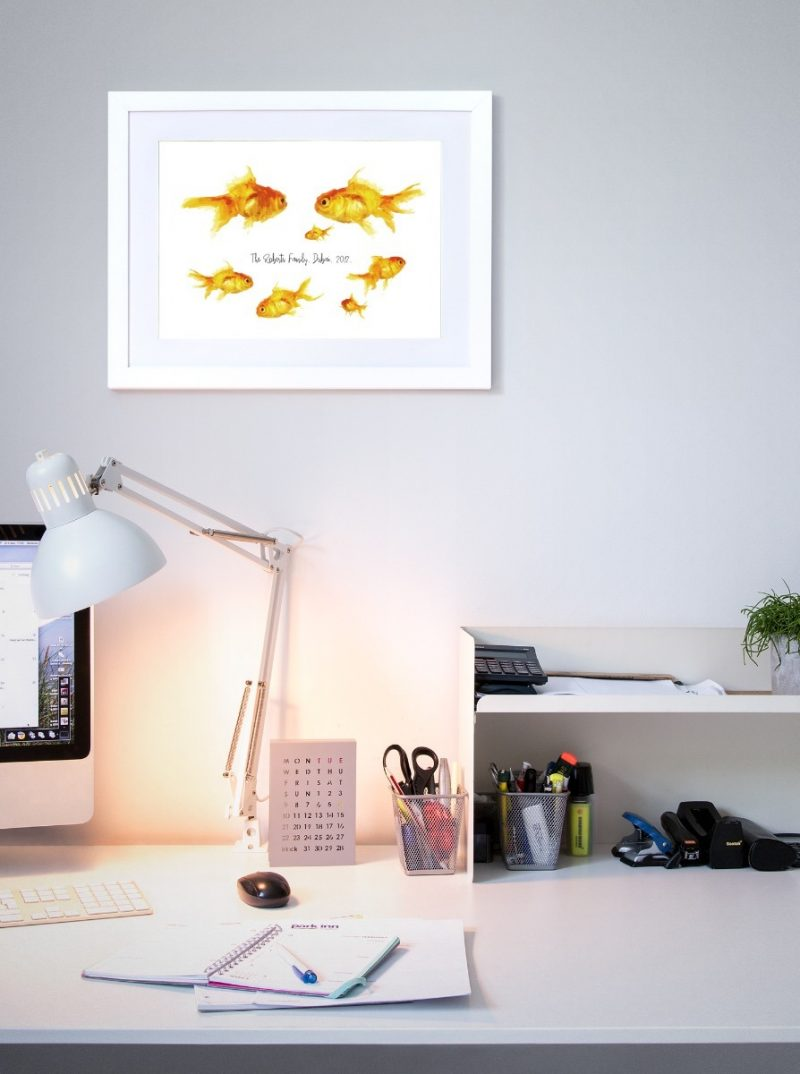 Family & Friends - Fishes 2-Black-Framed A4 print-1565