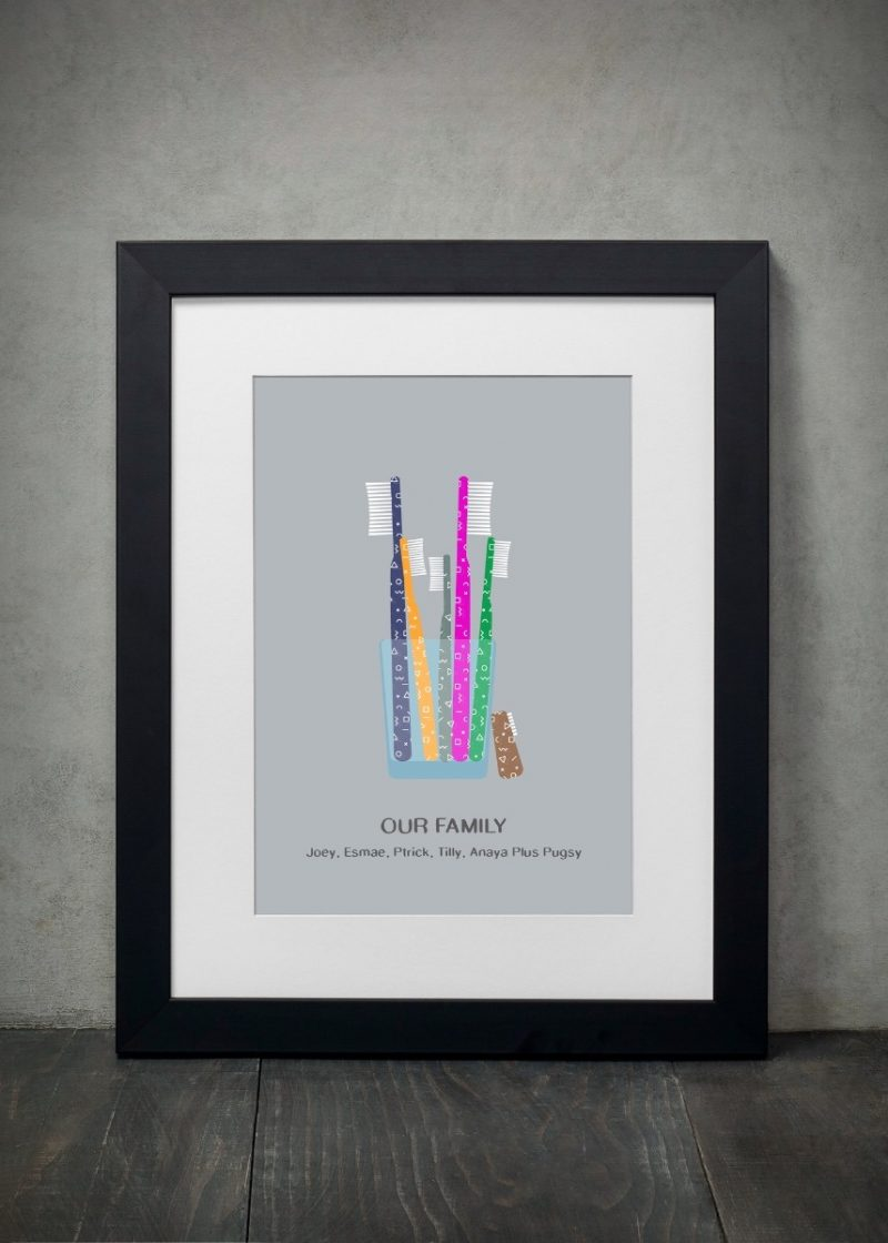 Family & Friends - Toothbrush 1-Framed A4 print-Black-0