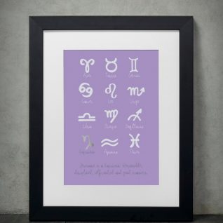 Family & Friends - Zodiac Signs 1-Framed A4 print-Black-0