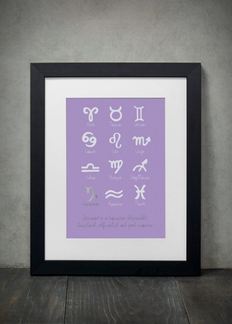 Family & Friends - Zodiac Signs 1-Framed A4 print-Black-0