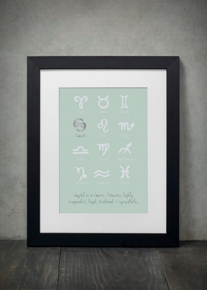 Family & Friends - Zodiac Signs 1-Framed A4 print-Black-1709