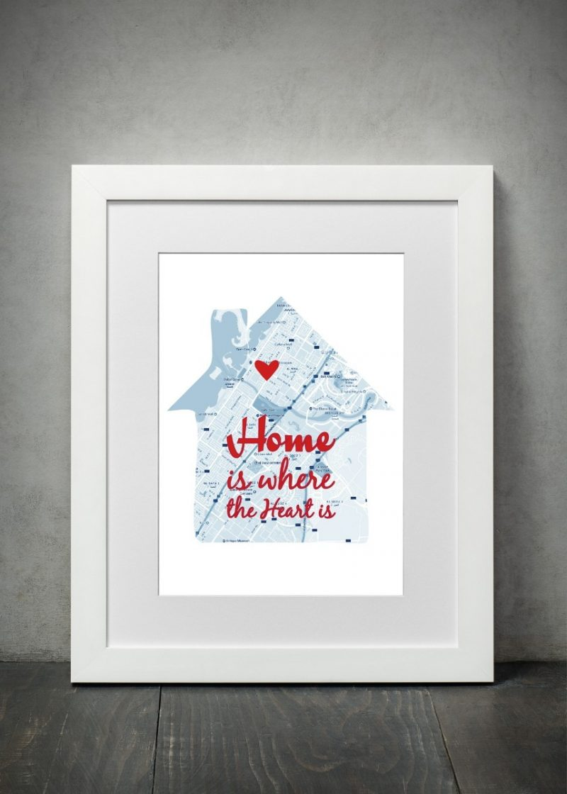 Geography - Home Is Where The Heart 1-Black-Framed A4 print-1640