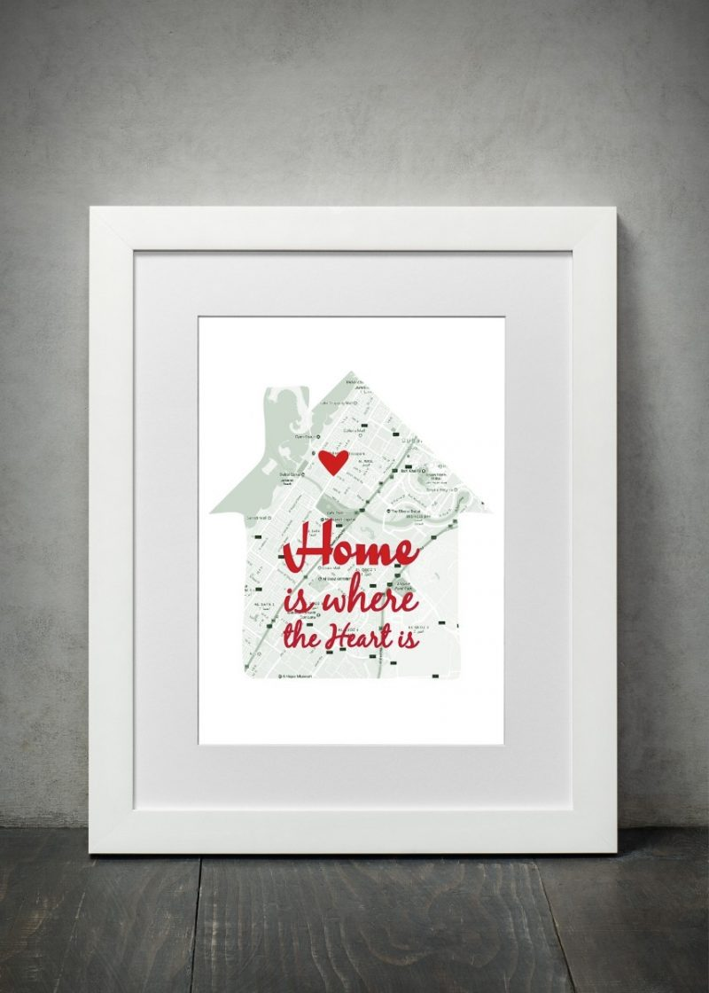 Geography - Home Is Where The Heart 1-Black-Framed A4 print-1642