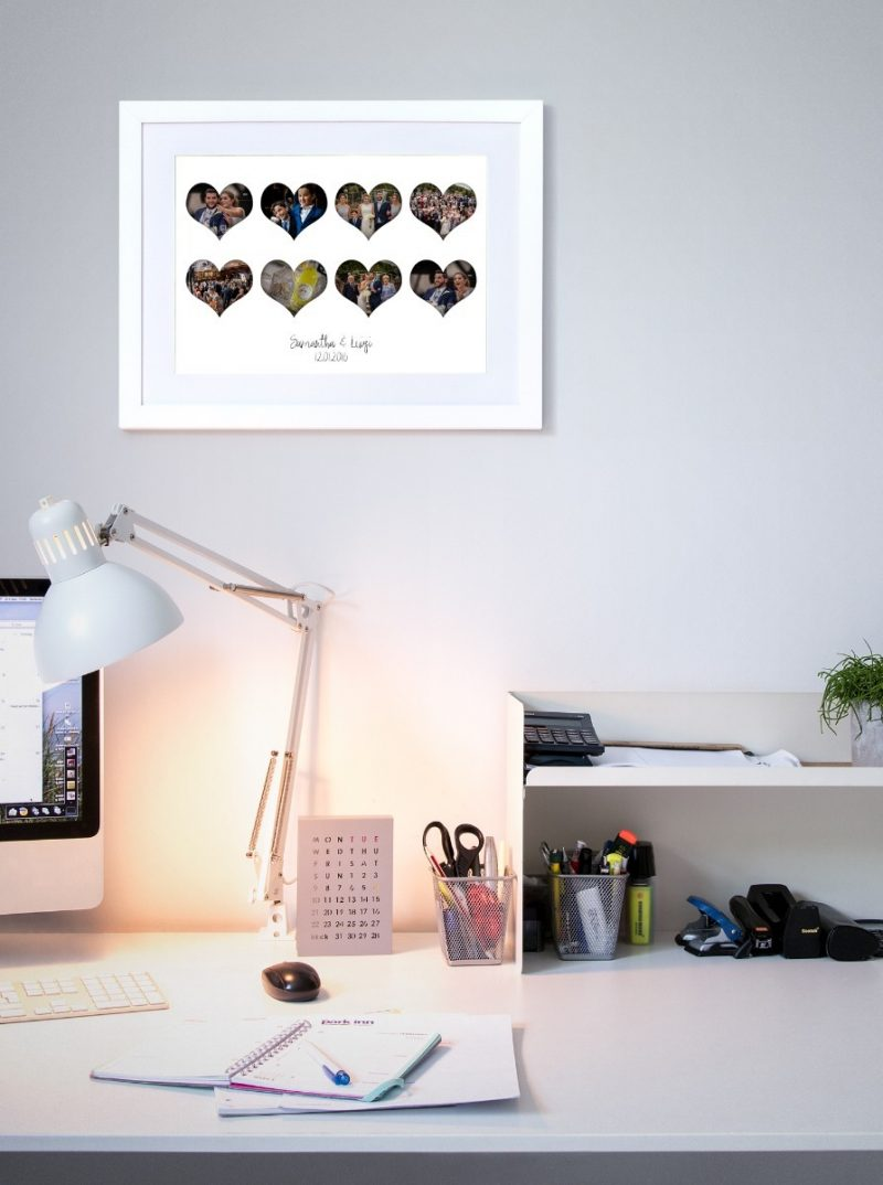 Photo Collage - Hearts 3-Black-Framed A4 print-1687
